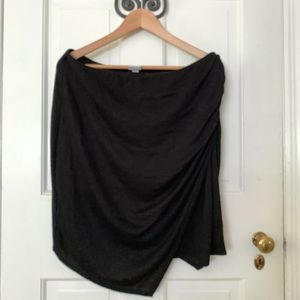 "Knit asymmetrical hem ""wrap"" skirt"